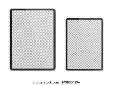 Realistic tablet pc different sizes isolated on white background. Vector illustration.