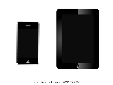 Realistic tablet and phone with blank screen isolated on white background