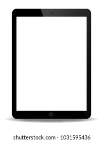 A realistic tablet screen isolated on a white background