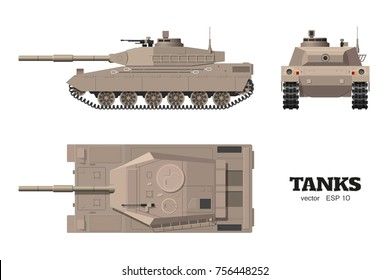 Realistic tank blueprint. Armored car on white background. Top, side, front views. Army weapon. War camouflage transport. Vector illustration