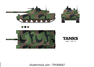Realistic tank blueprint. Armored car with camouflage on white background. Top, side, front views. Army weapon. War transport. Vector illustration