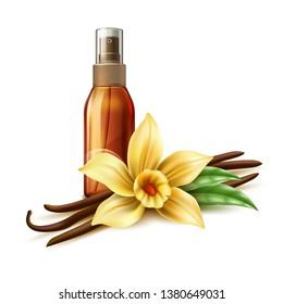 Realistic tanning oil in bronze spray bottle. Vanilla flower near orange moisturizer, skin care oil essence. Spa product package vector design.