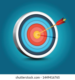 Realistic Target With Arrow, Business Icon. Vector Illustration