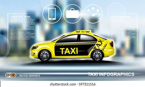 Realistic Taxi car Infographic. Urban city background. Online Cab Mobile App, Cab Booking, Map Navigation e-commerce business concept. Digital Vector