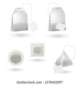 Realistic tea bag isolated. White tea bag mockup