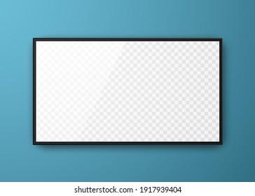 Realistic television screen. Mockup of computer monitor display. 3d TV led monitor. Vector illustration.