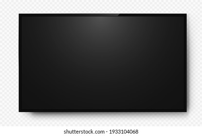 Realistic television screen on background. TV, modern blank screen lcd, led