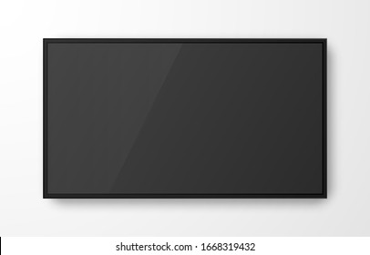 Realistic television screen on transparent background. Mockup of computer monitor display. 3d TV led monitor. Vector illustration.