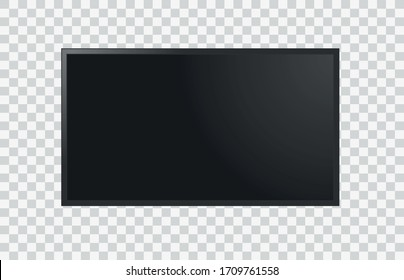 Realistic television screen on transparent background. Mockup of display. Vector illustration