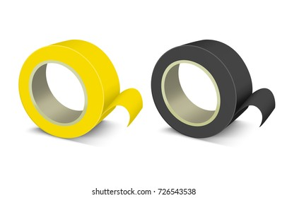 Realistic Template Blank Color Adhesive Roll Tape Office Tool for Work, Repair. Vector illustration