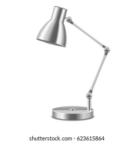 Realistic Template Blank Metal Table Lamp Illuminate Interior Office or Home Isolated on a White Background. Vector illustration