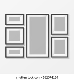 Realistic Template Blank Picture or Foto Frame for Interior. Vector illustration