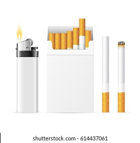 Realistic Template Blank White Cigarette Pack with Pocket Lighter Accessory. Vector illustration