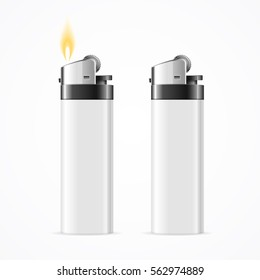 Realistic Template Blank White Lighter Empty Mock Up. Vector illustration