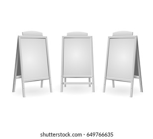Realistic Template Blank White Menu Board Set for Business Advertising Isolated on Background. Vector illustration