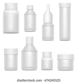 Realistic Template Blank White Plastic Bottle Pack Set Medicine Container Concept for Drug and Vitamin. Vector illustration