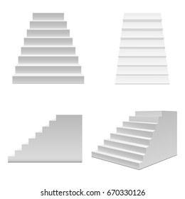 Realistic Template Blank White Staircase or Stairs Set Success Business Concept or Interior Element. Vector illustration