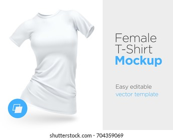 Realistic Template Blank White Woman T-shirt Cotton Clothing. Empty Mock Up Vector illustration