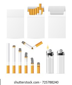 Realistic Template Cigarette Blank White Pack with Pocket Accessory Plastic Lighter Empty Mockup Tobacco Addiction Concept. Vector illustration of Tools Cigarettes