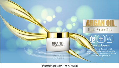 A realistic template cosmetic package. 3d splash of liquid oil. Splashing argan oil, hair protection cosmetics product pack design.