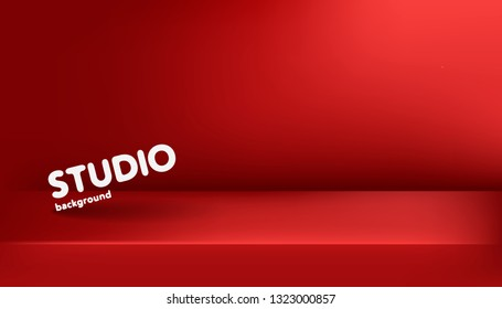 Realistic template of empty bright red studio, photostudio, table, room. Used as background for display or advertise your products. Vector illustration