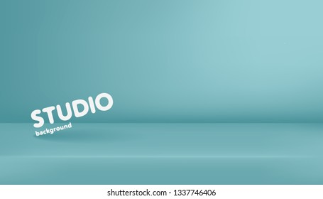 Realistic template of empty light blue studio, photostudio, table, room. Used as background for display or advertise your products. Vector illustration