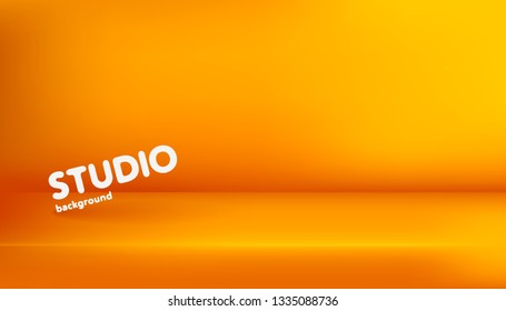 Realistic template of empty orange studio, photostudio, table, room. Used as background for display or advertise your products. Vector illustration