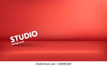 Realistic template of empty red studio, photostudio, table, room. Used as background for display or advertise your products. Vector illustration