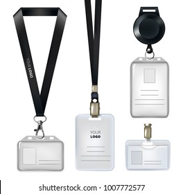 Realistic template of identification card or personal badges. Personal identity card, realistic lanyard tag, plastic id empty, vector illustration