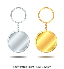 Realistic Template Metal Keychains Set Golden and Silver Circle Shape. Vector illustration isolated on white background