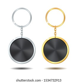 Realistic Template Metal Keychains Set Golden and Silver Circle Shaped with black middle. Vector illustration isolated on white background