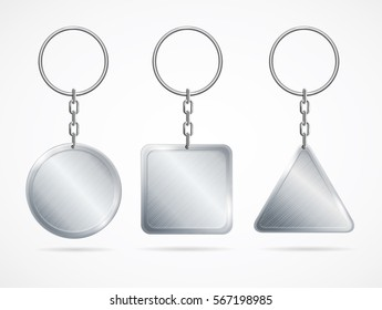 Realistic Template Metal Keychains Set Circle, Square and Triangle Shapes Design Web Element. Vector illustration