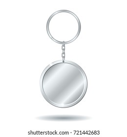Realistic template metals silver keychain circle shape. Vector illustration.