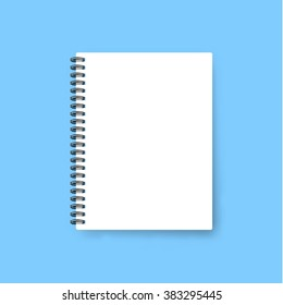Realistic template notebook. Blank cover design. School business diary