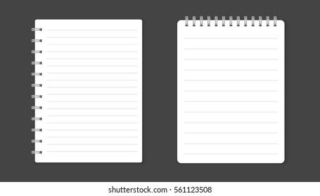 Realistic template notepad with spiral. Blank cover design on black background
