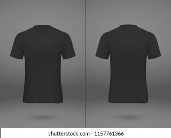 realistic template soccer jersey t-shirt on shop backdrop. Mockup of football team uniform