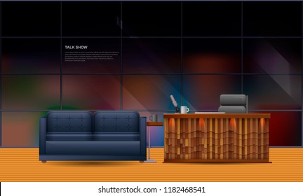 Realistic template talk show studio. Soft sofa with table and mug. The table of the presenter with a microphone and an armchair. Studio talk show on the background of a panoramic window.
