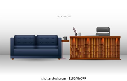 Realistic template talk show studio. Soft sofa with table and mug. The table of the presenter with a microphone and an armchair. Studio talk show on a white background.