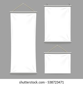 Realistic Template White Blank Textile Banners with Folds Set. Vector illustration
