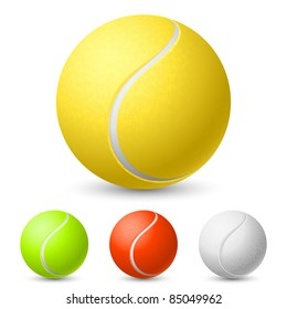 Realistic tennis ball in different colors. Illustration on white background for design