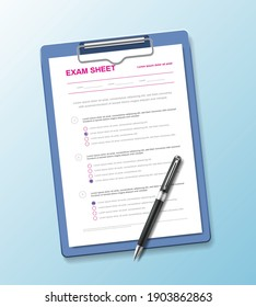 Realistic test paper questionnaire composition with exam sheet on holder pad with pen on gradient background vector illustration