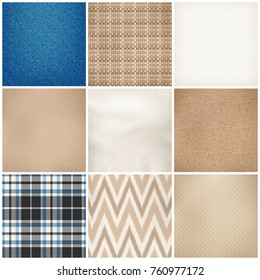 Realistic textile 9 samples collection square of various fibers weave texture color pattern fabrics isolated vector illustration