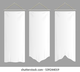 Realistic Textile Banners with Folds Set Blank Empty Mock Up. Vector illustration