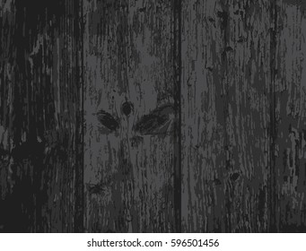 Realistic texture of burned wooden planks. Vector grunge background.