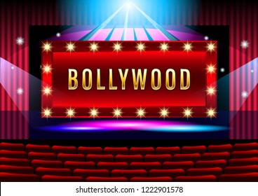 Realistic Theater stage with red curtain banner Bollywood. beautiful lighting spotlights seat view from the audience hall. Vector Illustration