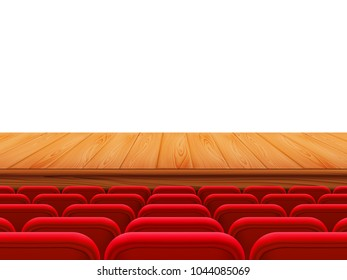 Realistic theater wooden stage or floor with rows of red seats, back view. Empty seats in the cinema hall, cinema, theater, opera, events, shows. Interior element. Vector realistic 3d illustration.
