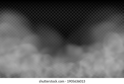 Realistic thick fog or dense smoke swirling below, a thick mist or heavy cloud vector effect isolated on a transparency grid