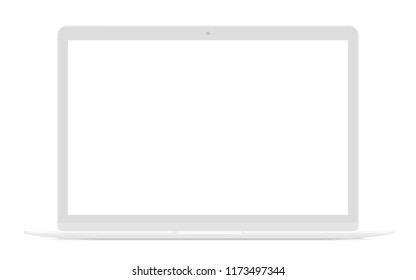 Realistic thin white laptop ultrabook mock up vector illustration.