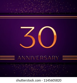 Realistic Thirty Years Anniversary Celebration design banner. Golden number and confetti on purple background. Colorful Vector template elements for your birthday party