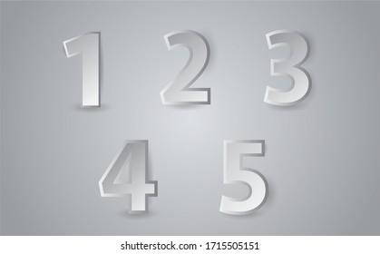 Realistic three dimensional number set, vector illustration